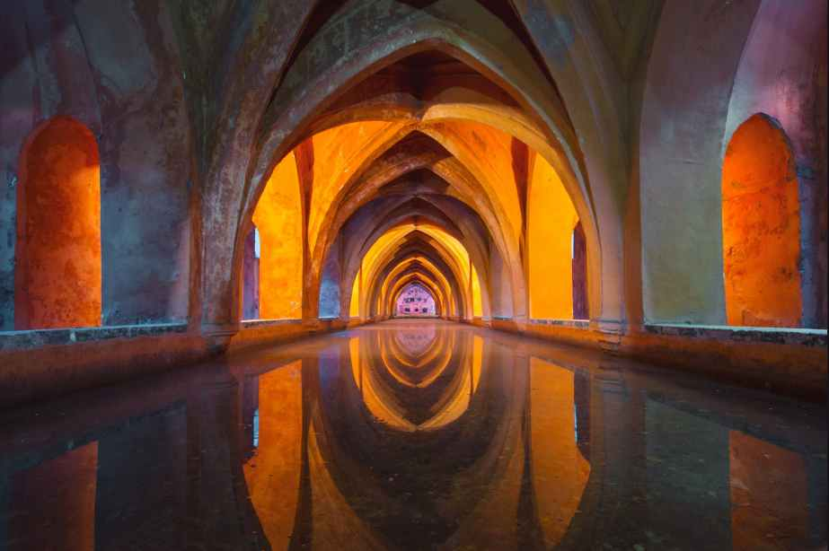 water architecture colourful church